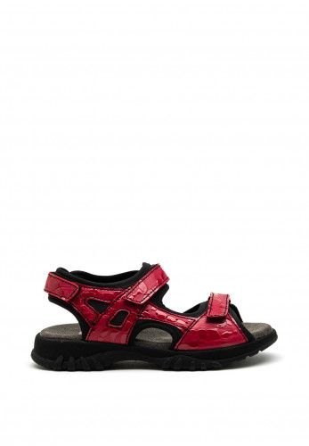 Softmode Camino Leather Patent Velcro Strap Sandals, Red