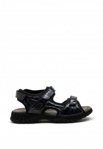 Softmode Camino Leather Patent Velcro Strap Sandals, Navy
