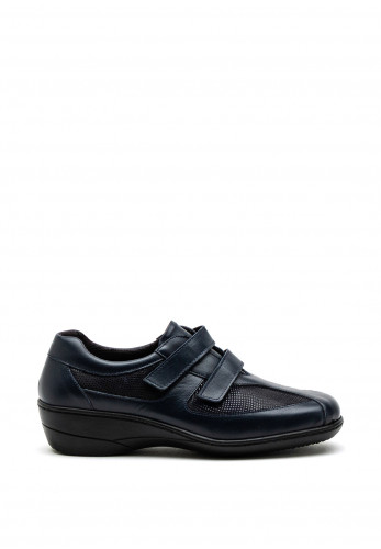 Softmode Harlee Dual Strap Leather Shoe, Navy