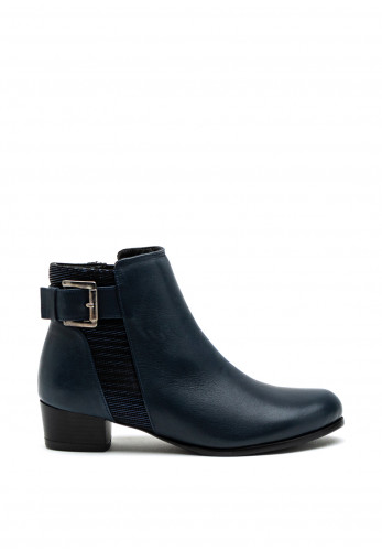 Softmode Hayley Buckle Detail Low Heel Ankle Boot, Navy