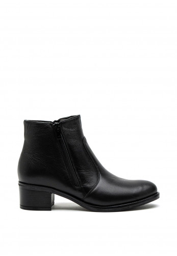 Softmode Holly Leather Block Heel Ankle Boot, Black