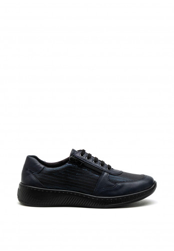 Softmode Hope Leather Embossed Stripe Lace Up Shoe, Navy
