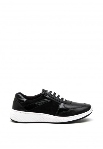 Softmode Jennie Leather Mix Panel Trainer, Black