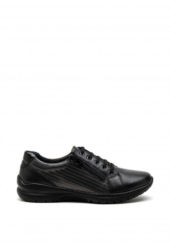 Softmode June Leather Embossed Stripe Lace Up Shoe, Black