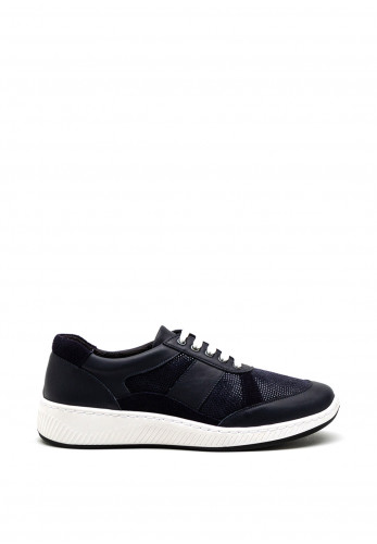 Softmode Rachel Embossed Leather Mix Trainer, Navy
