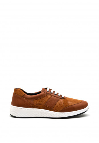Softmode Rachel Embossed Leather Mix Trainer, Tan