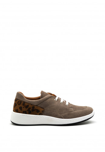 Softmode Ronnie Leopard Trim Trainers, Grey