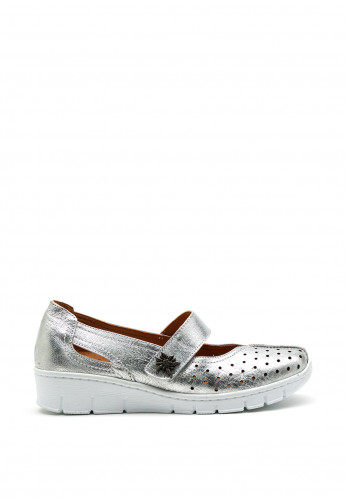 Softmode Trudy Leather Metallic Velcro Comfort Shoes, Silver