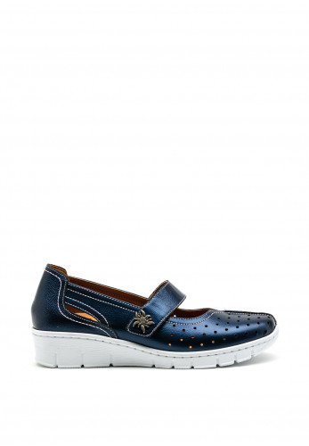 Softmode Trudy Leather Metallic Velcro Comfort Shoes, Navy