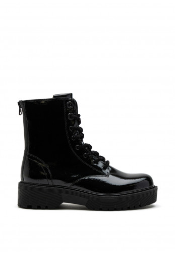 Sprox Patent Lug Sole Rear Zip Boot, Black