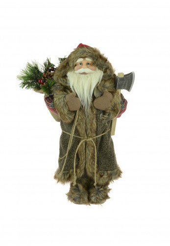 Foralsilk Standing Woodsman Santa Decoration, 93cm