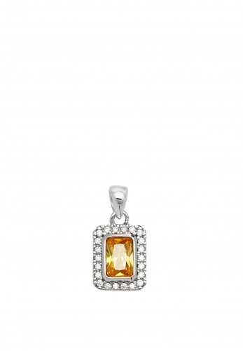 Sterling Silver Collection Yellow CZ Pendant Necklace, Silver
