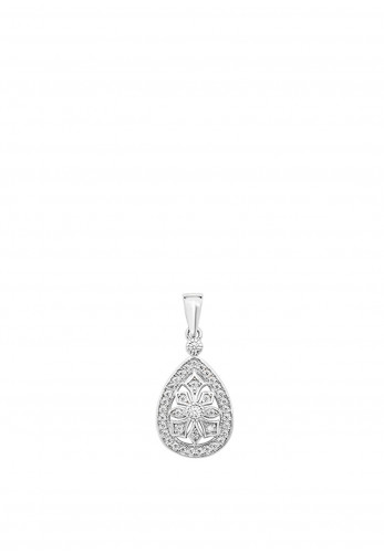 Sterling Silver Collection Tear Drop Pendant Necklace, Silver