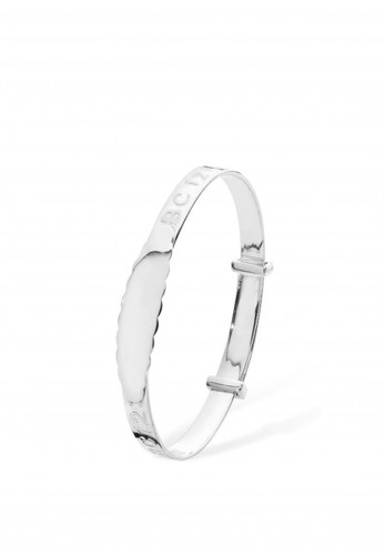 Sterling Silver Children's Number and Letters ID Bangle Bracelet, Silver