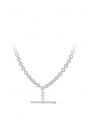 Sterling Silver T-Bar Necklace, Silver