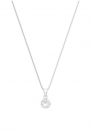 Sterling Silver White Zirconia Charm Necklace, Silver