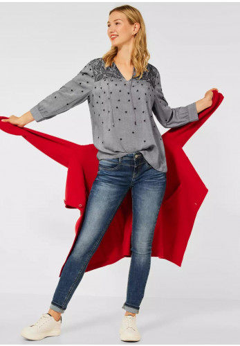 Street One Embroidered Tunic Top, Grey