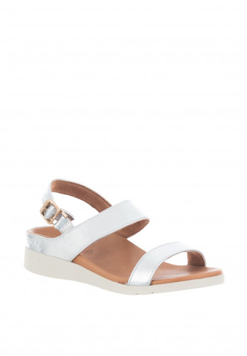 Strive Lucia Leather Metallic Buckle Sandals, Silver