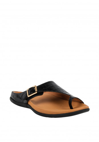 Strive Java Leather Croc Print Sandals, Black