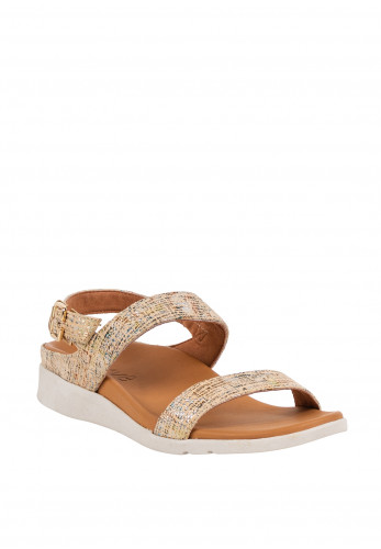 Strive Lucia Leather Metallic Buckle Sandals, Gold
