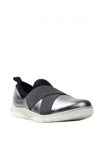 Strive Metz Leather Slip On Trainers, Grey