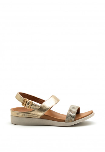 Strive Lucia Metallic Reptile Print Leather Slip on Sandals, Gold