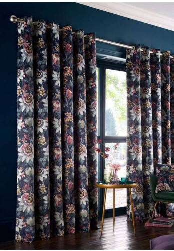 Studio G Passionaria Eyelet Lined Curtains, Midnight