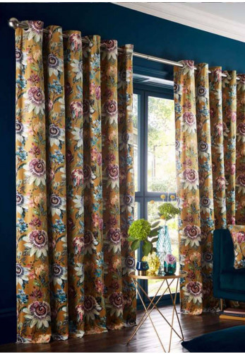 Studio G Passionaria Eyelet Lined Curtains, Ochre