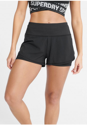 Superdry Womens Sport Double Layer Shorts, Black