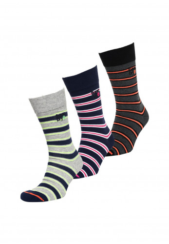 Superdry Mens City Sock 3 Pack, Stripped