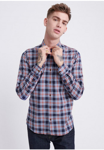 Superdry Workwear Lite Checked Shirt, Navy