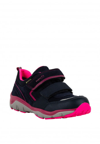 Superfit Girls Suede Velcro Trainers, Navy Pink