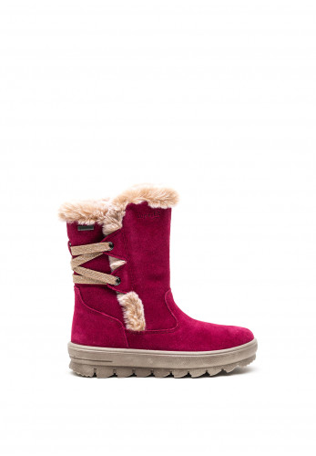 Superfit Girls Gortex Suede Boots with Faux Fur Lining, Raspberry