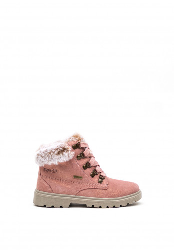 Superfit Girls Suede Faux Fur Boots, Pink
