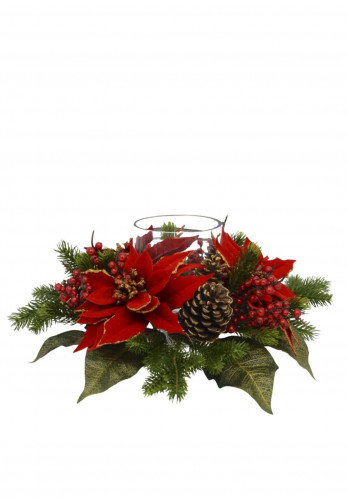 Swift Imports Poinsettia & Cone Large Glass Candle Holder