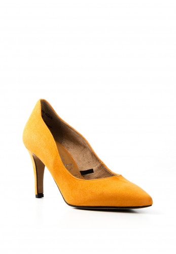 Tamaris Suede Pointed Court Shoe, Orange