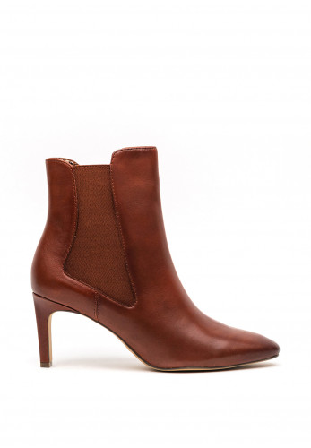 Tamaris Leather Tapered Heel Boots, Brown