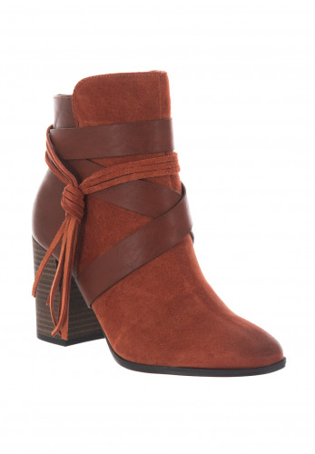 Tamaris Contrast Strap Ankle Boots, Rust