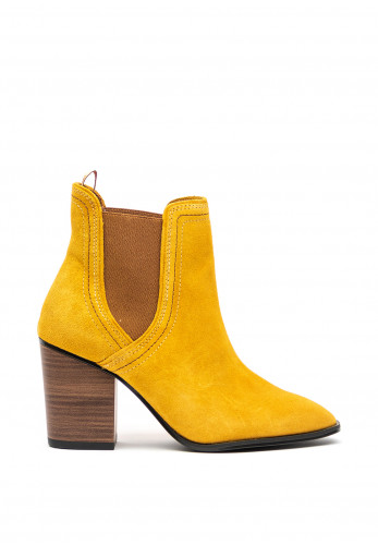 Tamaris Suede Slip On Ankle Block Heel Boots, Mustard