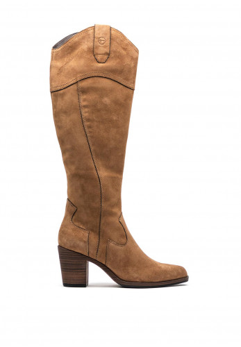 Tamaris Leather Long Leg Western Boots, Taupe