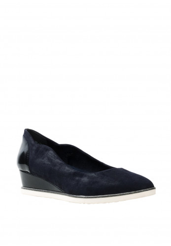 Tamaris Womens Leather F Fit Wedged Pumps, Navy