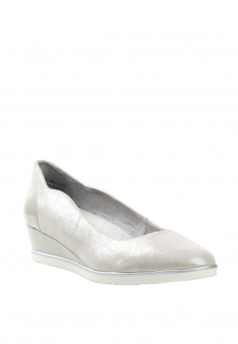 Tamaris Womens Leather F Fit Wedged Pumps, Silver
