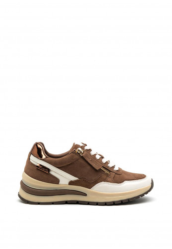 Tamaris Leather Zip and Lace Trainers, Brown & Beige