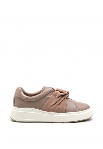 Tamaris Ruched Fabric Band Slip on Trainers, Dusty Pink