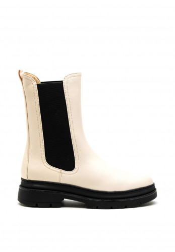 Tamaris Combat Style Pull On Boot, Off White