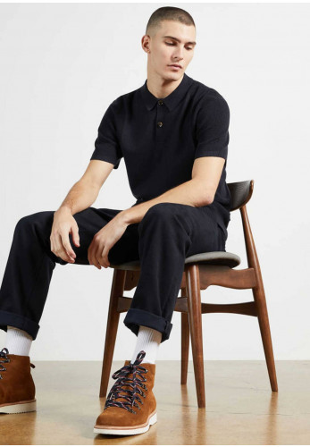 Ted Baker Bump Knitted Polo Shirt, Navy
