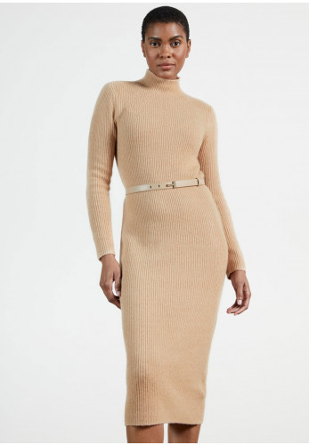 Ted Baker Womens Conniey Knit Midi Dress, Camel
