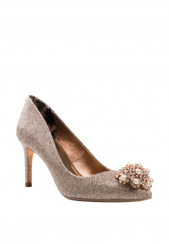 Ted Baker Ladies Diamante & Pearl Brooch Darlill Heels, Rose Gold