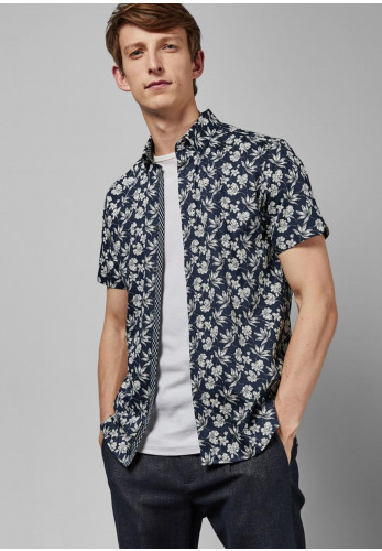 Ted Baker Statement Floral Print Shirt, Navy