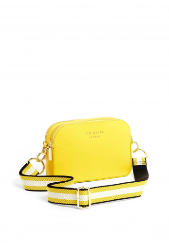 Ted Baker Amerrah Leather Woven Strap Camera Bag, Yellow